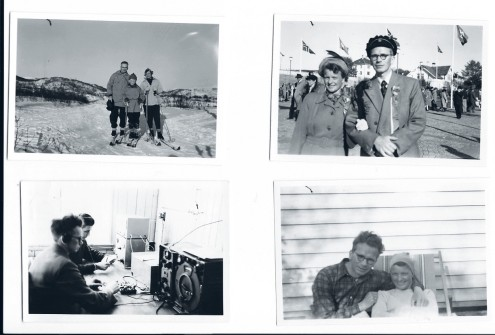 From top left: Peter with wife, Tora and son Egil, Peter and Tora, Peter at work, Peter and Tora