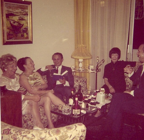 Nadine pictured with her lover, Claire Mousset (second in from left) and other friends at a New Year's party in their apartment in Caracas, Venezuela circa 1965
